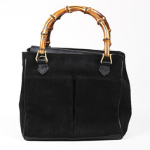 Gucci Black Suede Bamboo Top Handle Bag - $260.00