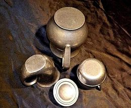 Pewter Pitcher, Cups, Creamer with Lid AA18-1291 Vintage Hand Cast image 7