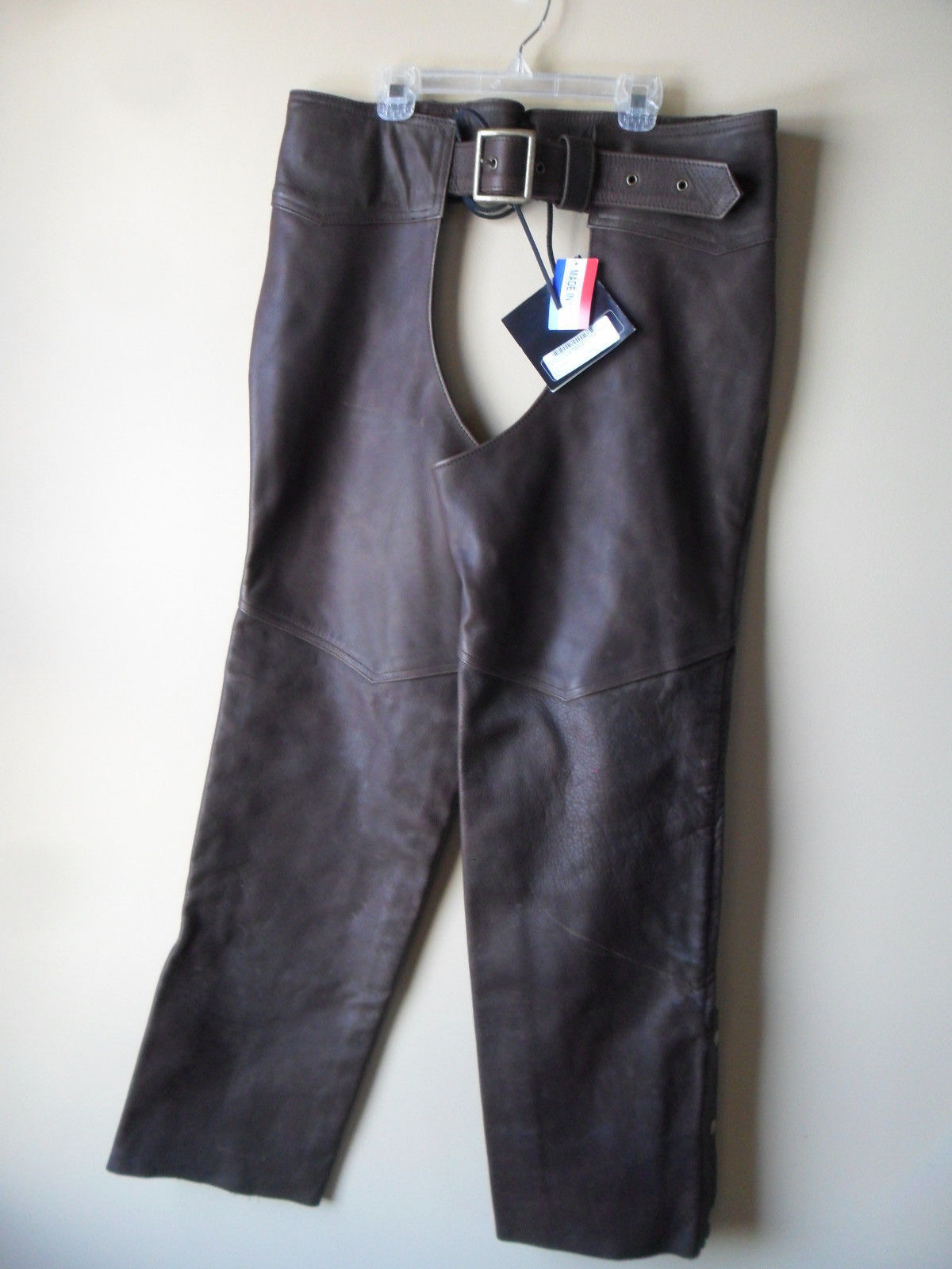 Men Women Unisex Brown Leather Motorcycle Biker Chaps Size LARGE New!! USA made
