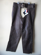 Men Women Unisex Brown Leather Motorcycle Biker Chaps Size LARGE New!! USA made image 2