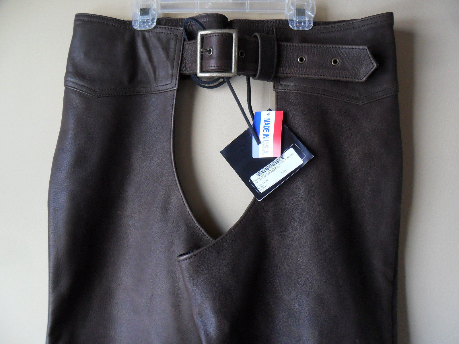 Men Women Unisex Brown Leather Motorcycle Biker Chaps Size LARGE New!! USA made image 4