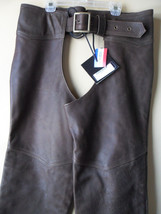 Men Women Unisex Brown Leather Motorcycle Biker Chaps Size LARGE New!! USA made image 3