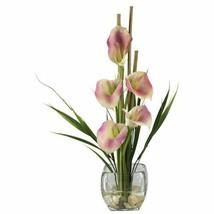"Luxury Pink Calla Lilly Liquid Illusion Faux Silk Flower Arrangement - 18"" - $70.36"