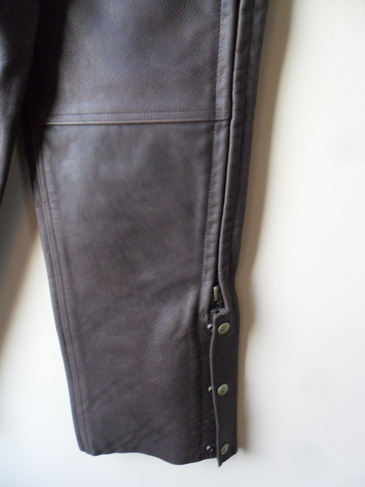 Men Women Unisex Brown Leather Motorcycle Biker Chaps Size LARGE New!! USA made image 7