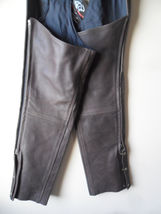 Men Women Unisex Brown Leather Motorcycle Biker Chaps Size LARGE New!! USA made image 8
