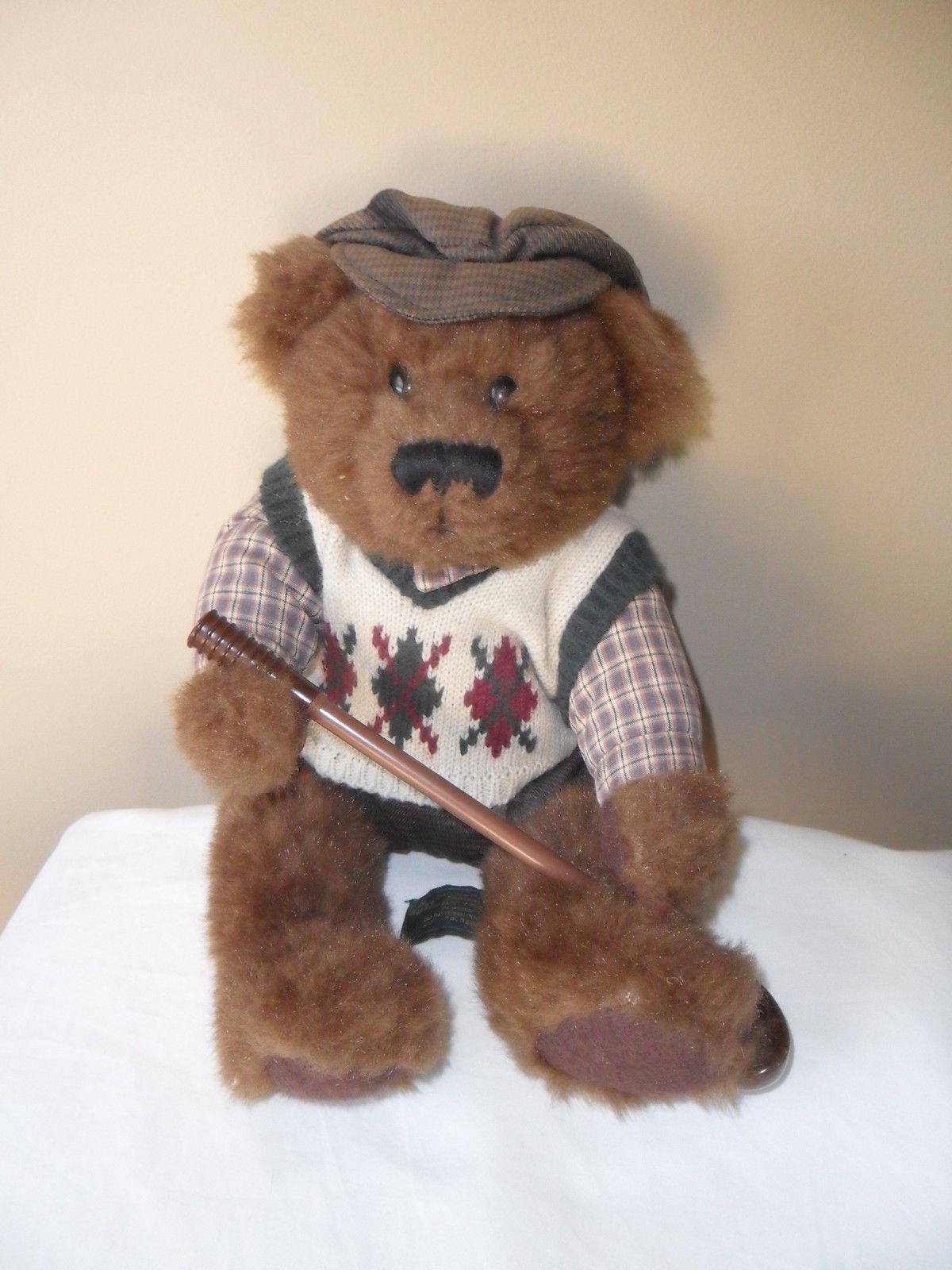 "Russ Golfer Bear  "" Knickers"" Plush Stuffed Animal Toy Golf Club Brown 12"""