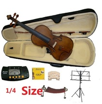 1/4 Size Violin+Case+Bow+Shoulder Rest+2 Bridges+Stand+Tuner - $80.00