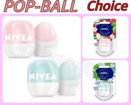 Nivea Lip Balm POP-BALL 7g Raspberry & Red Apple or Fresh Mint Protects ... - $14.55