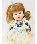 Porcelain Girl Doll Brown Hair Blue Eyes with Lace Dress  - $14.84