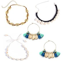 Mrotrida 4 Set Velvet Rope Shell Choker Necklace with Shell Tassels Earr... - $19.44