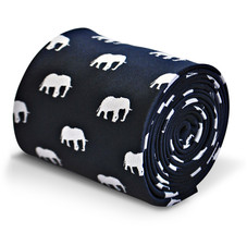 navy blue mens tie with elephant silhouette by Frederick Thomas FT3219