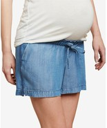Jessica Simpson Maternity Women's Elastic Waistband Blue Chambray Shorts... - $10.88