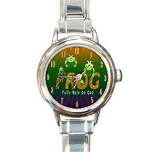 Ladies Round Italian Charm Watch Frog Fully Rely On God Gift model 30159576 - $11.99