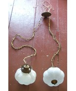 Vintage Double Hanging LAMP Swag GLASS Lights Ceiling Textured Frosted G... - $99.98