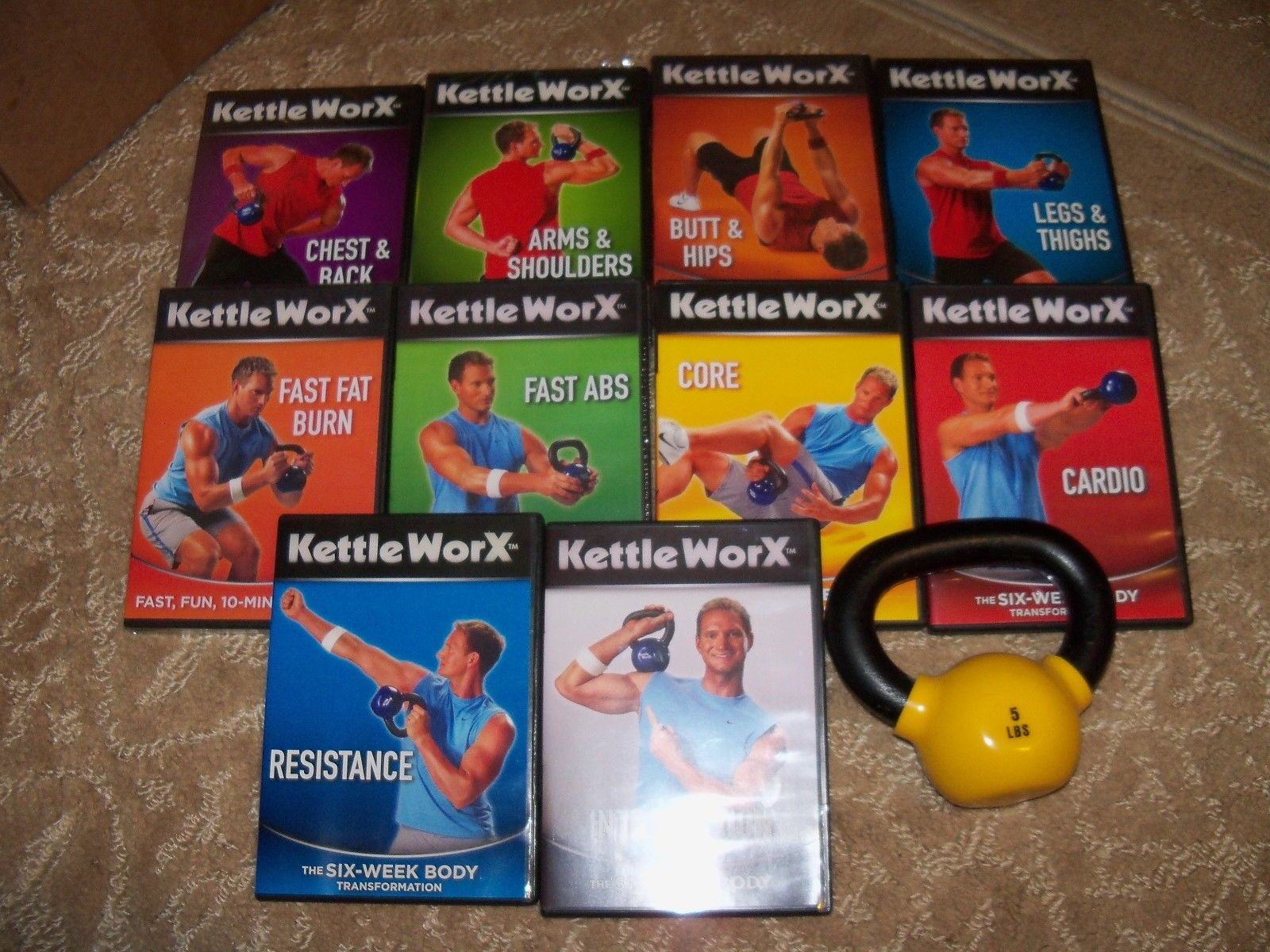 Kettle WorX 6 Week Body Transformation & More W/ 5lb Weight HTF