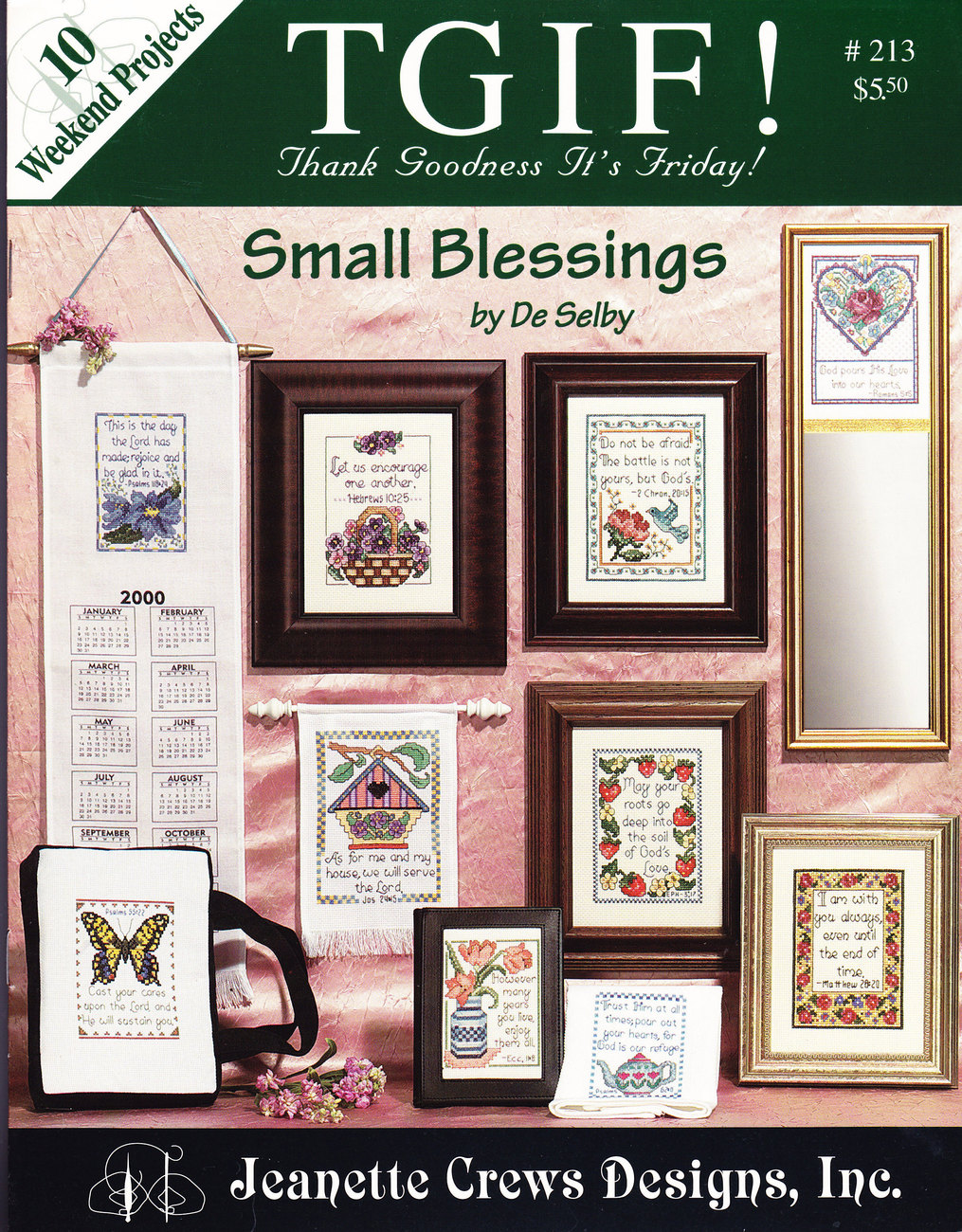 COUNTED CROSS TGIF! SMALL BLESSINGS BY DE SELBY #213