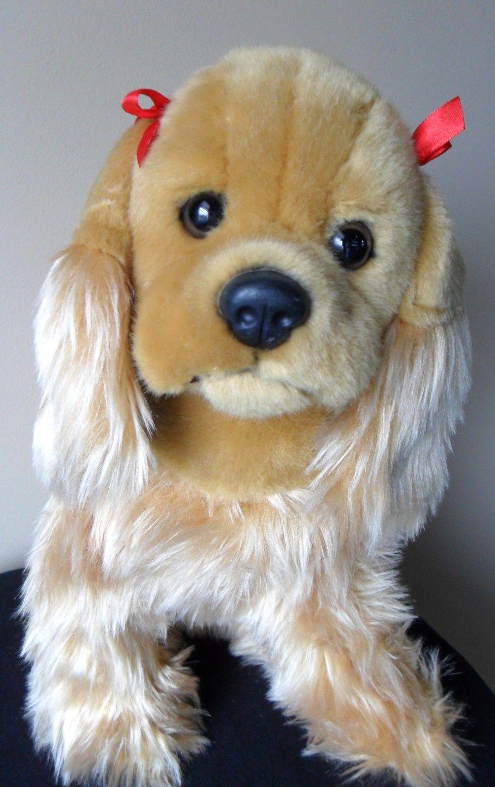 "Circo Cocker Spaniel Puppy Dog Plush Stuffed Target 11""  Tall Tan Red Bows image 2"
