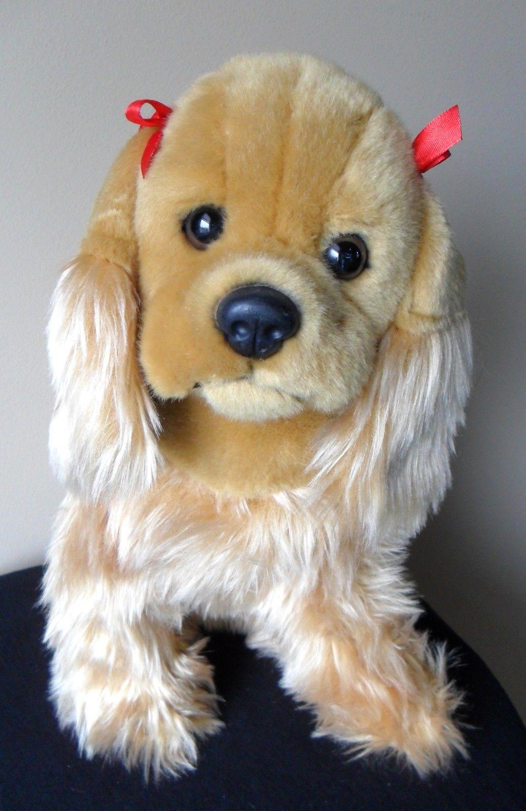"Circo Cocker Spaniel Puppy Dog Plush Stuffed Target 11""  Tall Tan Red Bows"