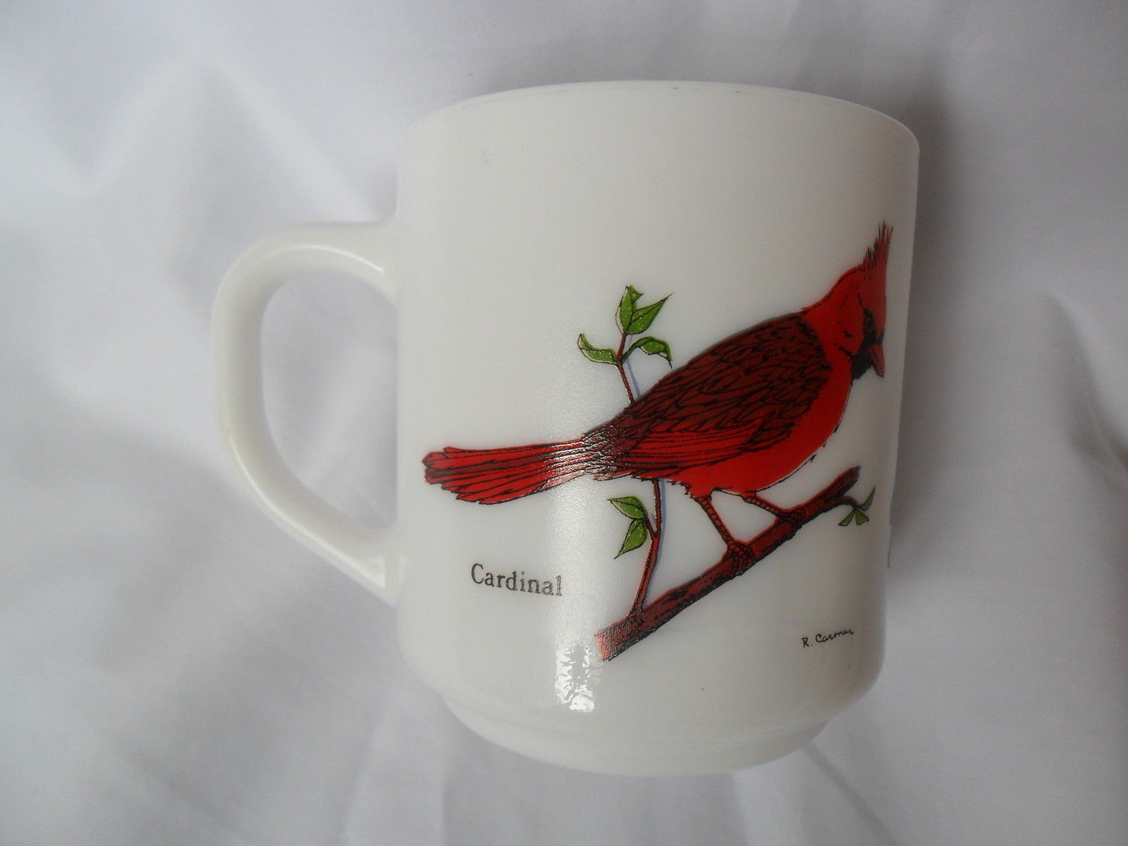 Vintage Milk Glass Coffee/Tea Cup-Mug France with Birds Cardinal, Blue Jay