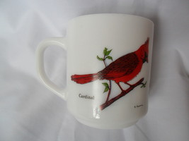 Vintage Milk Glass Coffee/Tea Cup-Mug France with Birds Cardinal, Blue Jay image 1