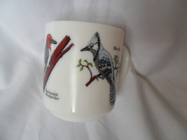 Vintage Milk Glass Coffee/Tea Cup-Mug France with Birds Cardinal, Blue Jay image 2