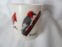 Vintage Milk Glass Coffee/Tea Cup-Mug France with Birds Cardinal, Blue Jay image 3