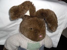 "DAN DEE Collectors Choice Bunny/Rabbit Plush w/sweater Green, Blue & Beige 21"" image 3"