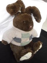 "DAN DEE Collectors Choice Bunny/Rabbit Plush w/sweater Green, Blue & Beige 21"" image 2"