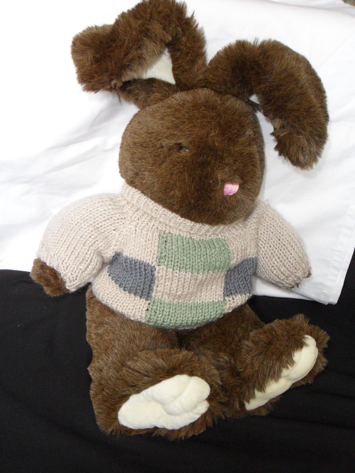 "DAN DEE Collectors Choice Bunny/Rabbit Plush w/sweater Green, Blue & Beige 21"""