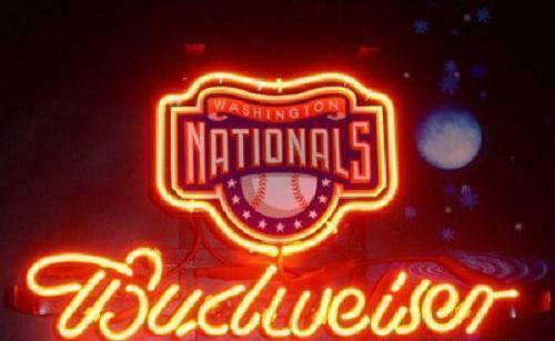 """Budweiser Washington Nationals Neon Sign 14""""x10"""" Beer Bar Light Artwork Man Cave"""