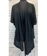JM Collection Lightweight Black Paisley Pattern Cardigan Sweater Top Siz... - $24.85