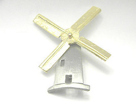 Ultra Craft Mechanical Windmill Pewter Gold tone Vintage jewelry Pin Moving - $19.79