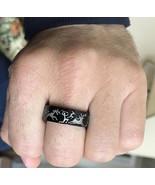 Ancient Deer Hunter Black Tungsten Ring - Engraved Hunting Wedding Band - $99.99