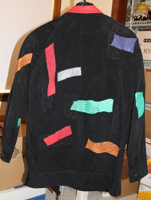 80'S VINTAGE LEATHER & SUEDE POP PATCHWORK EMBROIDERED WOMENS JACKET - MED