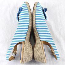 White Slingback Spots Stripe Toe Achelle Flower Heels Peep Blue Wedge Soft Sz 9 qd71zwq