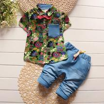 children summer baby boys clothing sets 2pc shirt and jeans clothes formal - $22.33 CAD+
