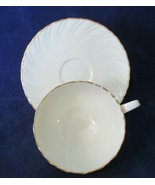Lenox Laurent D516 Cup & Saucer 1960-1986 Discontinued Ivory Swirl Gold Rim - $40.00