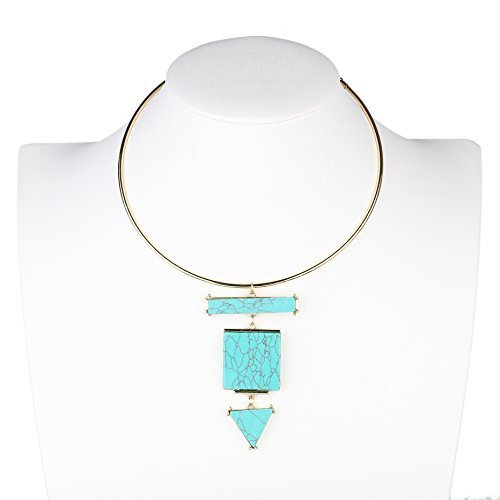 Primary image for UE- Distinctive Gold Tone Designer Choker Necklace with Faux Turquoise Pendant
