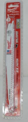 Milwaukee 48005036 Sawzall Blade 5 Pack Wood Blades New In Package