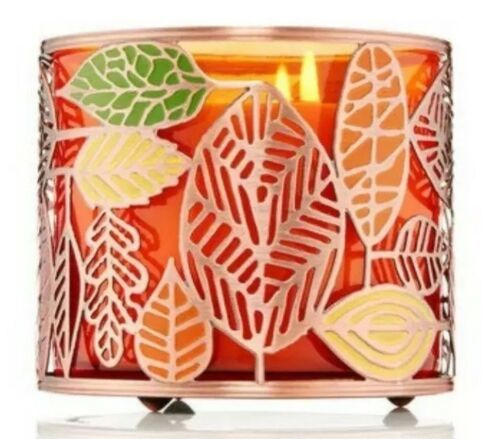 BATH & BODY WORKS Tossed Fall Leaves Leaf LARGE 3 WICK CANDLE HOLDER SLEEVE - $15.68