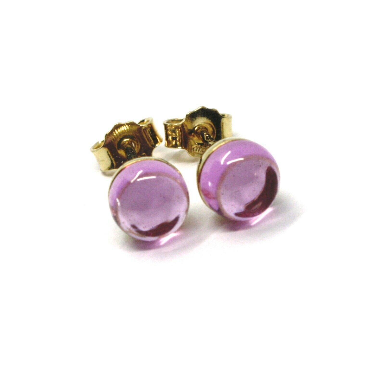 18K YELLOW GOLD BUTTON LOBE EARRINGS, CABOCHON PINK TOURMALINE DIAMETER 6mm