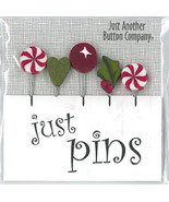 Mistletoe Holiday JP158 Just Pins set 5 for pincushions JABC Just Anothe... - $13.05
