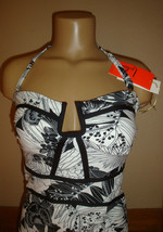New $86 Leilani Women's 1 Piece Swimsuit Antigua Black and White Tropical Size 8 image 2