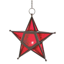 Red Glass Star Candle Lantern - $20.00