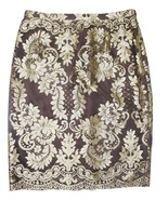 Valentino Vintage Brown Gold Embroidered Party Skirt - $80.00