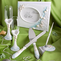 Beach Theme Wedding Accessories Guest Book Pen Flutes Server 4 Pieces Se... - $58.15