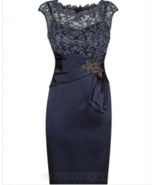 Sheath Bateau Cap Sleeves Navy Blue Mother of The Bride Dress with Lace ... - £94.25 GBP+