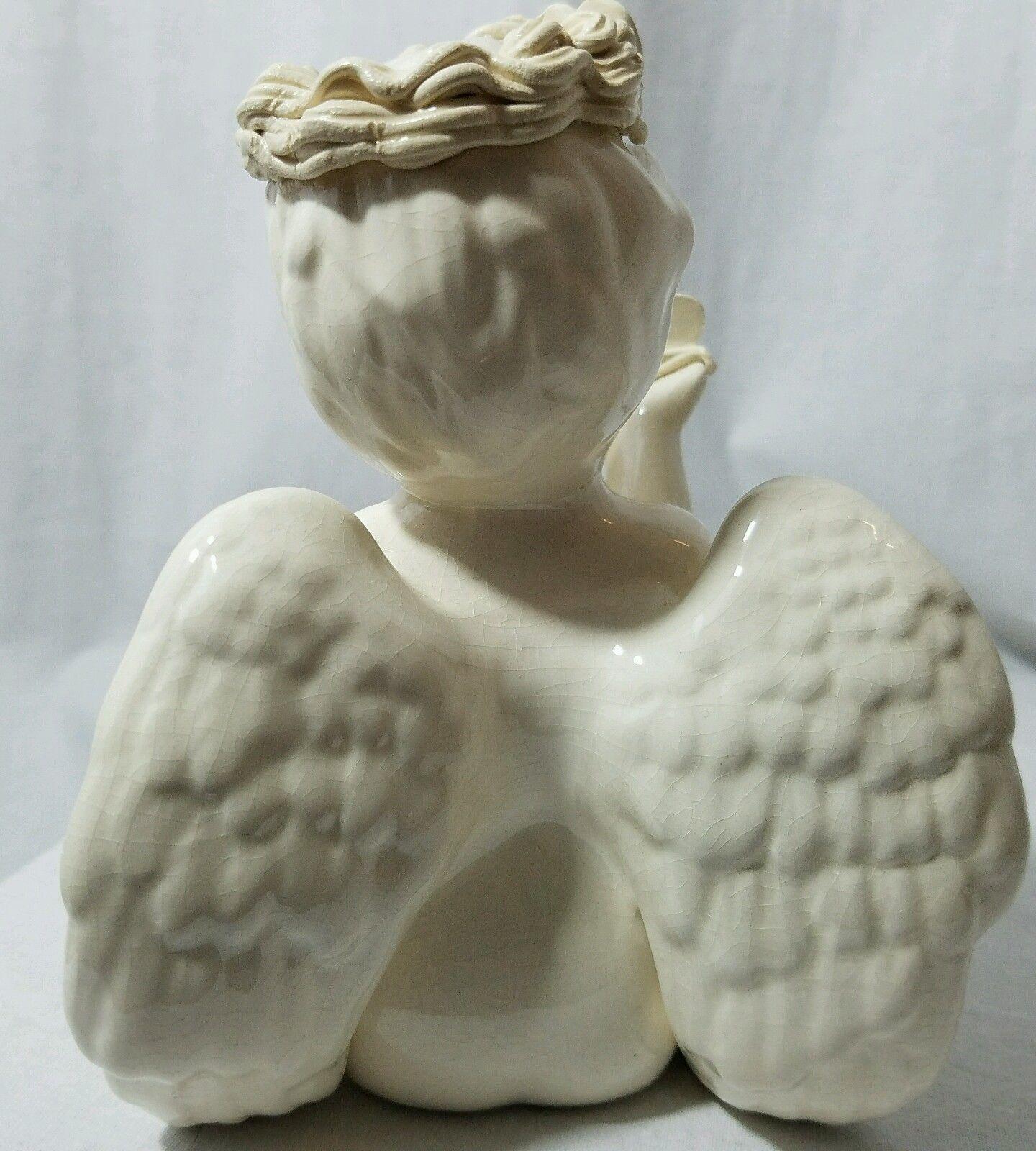 Ceramic Angel Blowing Heart Kisses Signed By Artist Laraine Eggleston