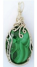 Malachite Silver Wire Wrap Pendant 2 - $34.00