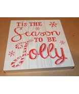 "Christmas Square Wood Sign Decor 9"" x 9"" x 1 5/16"" White Season To Be Jo... - $4.49"